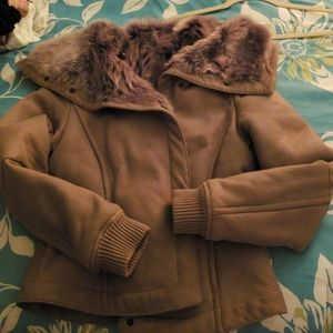 Max Mara fur lined leather bomber jacket. New